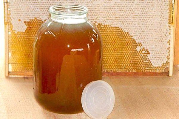 Hierbas de miel en un tarro y un marco con miel.