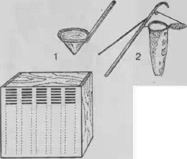 El diseño de Butlerov con una cuchara y un roznimitel.